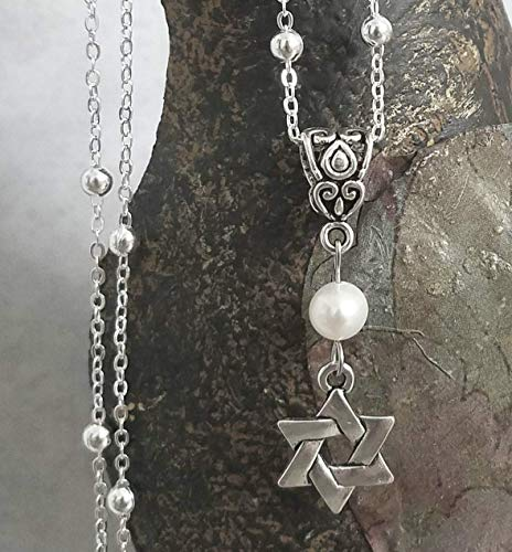Star of David Pearl Necklace on Sterling Silver Chain