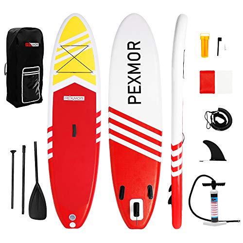 "PEXMOR Inflatable Stand Up Paddle Board for Fishing Yoga Paddle Boarding with Premium SUP Accessories & Carry Bag, Surf Control, Non-Slip Deck | Youth & Adult Standing Boat 10'6"" X 30"" X 6"" (Red)"