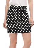 Allegra K Women's Hidden Zipper Back Above Knee Polka Dot Skirt S Black