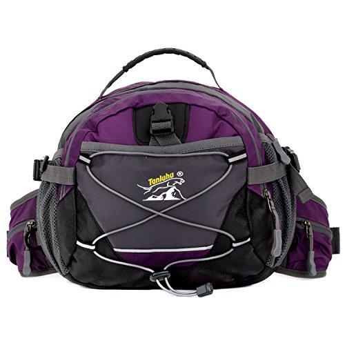 Purple Color Multi PocketOutdoor Sport Waist Pack Bag Pouch Belt Bumbag, Adjustable Strap