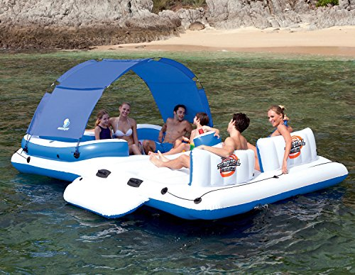 (Covered Party Island Pool Floats For Adults With Cup Holder And Umbrella Perfect For Lake )