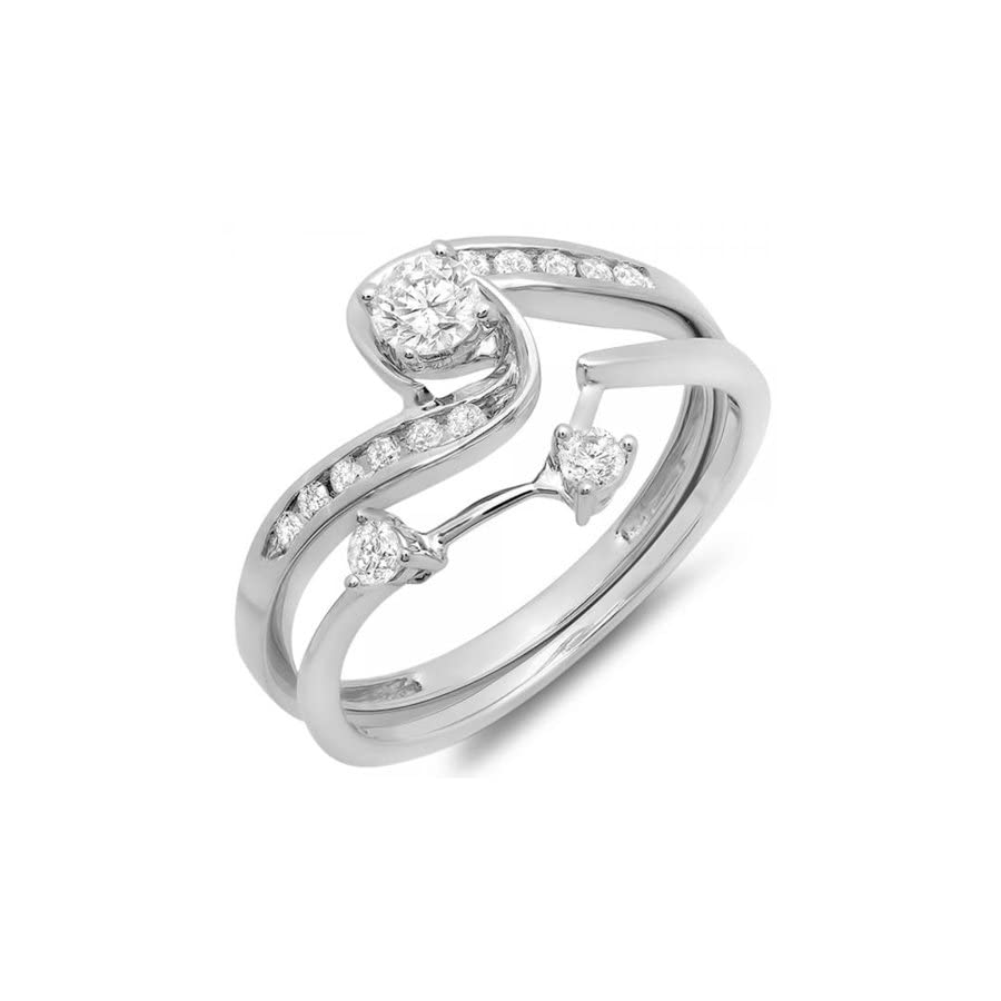 Dazzlingrock Collection 0.50 Carat (ctw) 10K White Gold Round Diamond Swirl Bridal Engagement Ring Matching Band Set 1/2 CT
