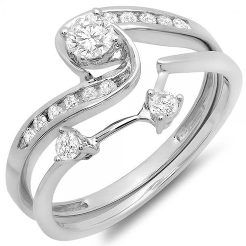 0.50 Carat (ctw) 10K White Gold Round Diamond Swirl Bridal Engagement Ring Band Set 1/2 CT (Size (Gold Swirl Ring)