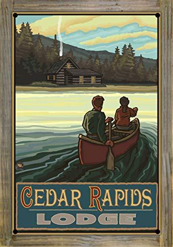 Northwest Art Mall Cedar Rapids Lodge Minnesota Lake Canoers Hills Metal Print on Reclaimed Barn Wood by Paul A. Lanquist (12