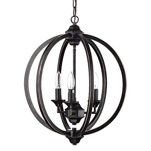 Edvivi 3-Light Antique Bronze Wrought Iron Globe Cage Chandelier Ceiling Fixture | Modern Farmhouse Lighting