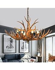Vintage kaars gewei kroonluchter retro hertengewei lamp vintage herten kroonluchter lamp met hars plafondlamp voor café restaurant gang slaapkamer