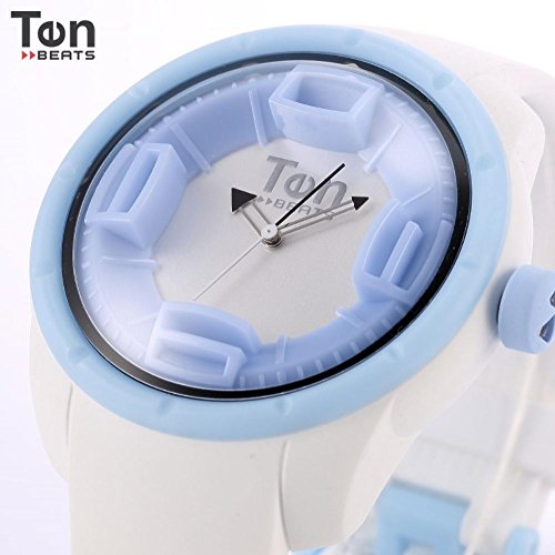 LNTGO Ten Beats Fluorescent Ring White Numbers 3D Dial Silicone Strap Quartz Analog Casual Men- Women Quartz Watch + Box - Bf130205