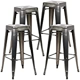 Poly and Bark Trattoria Bar Stool in Polished Gunmetal (Set of 4)