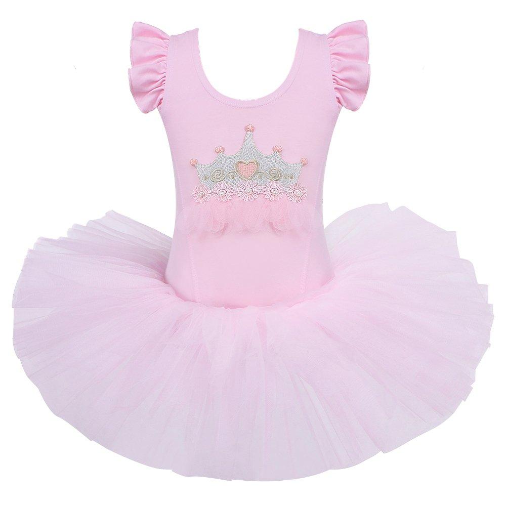 キッズ ワンピース 半袖 キラキララインストーン ダンスコスチューム チュチュバレエドレス 小さな女の子用 38歳 B0746JWY9B M|Pink-crown Pink-crown M