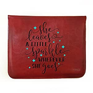 """Hamee Tan Brown Leather Tablet Case for Amazon All New Fire 7 Tab ( """"She Sparkles"""")"""