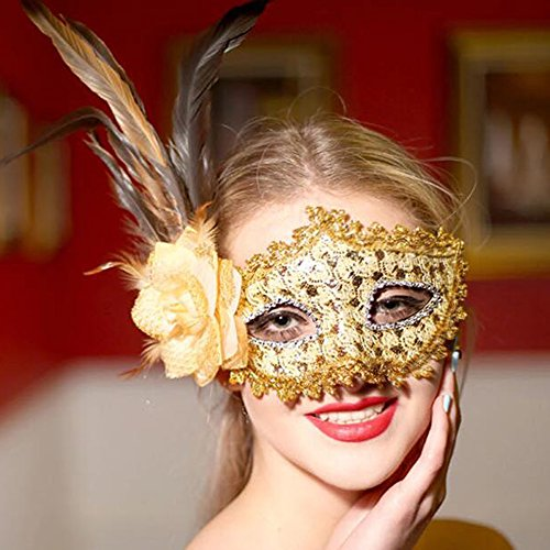 Dongcrystal Venetian Flower Masquerade Masks Mardi Gras Costume with Feather (Roman Silver Bands)