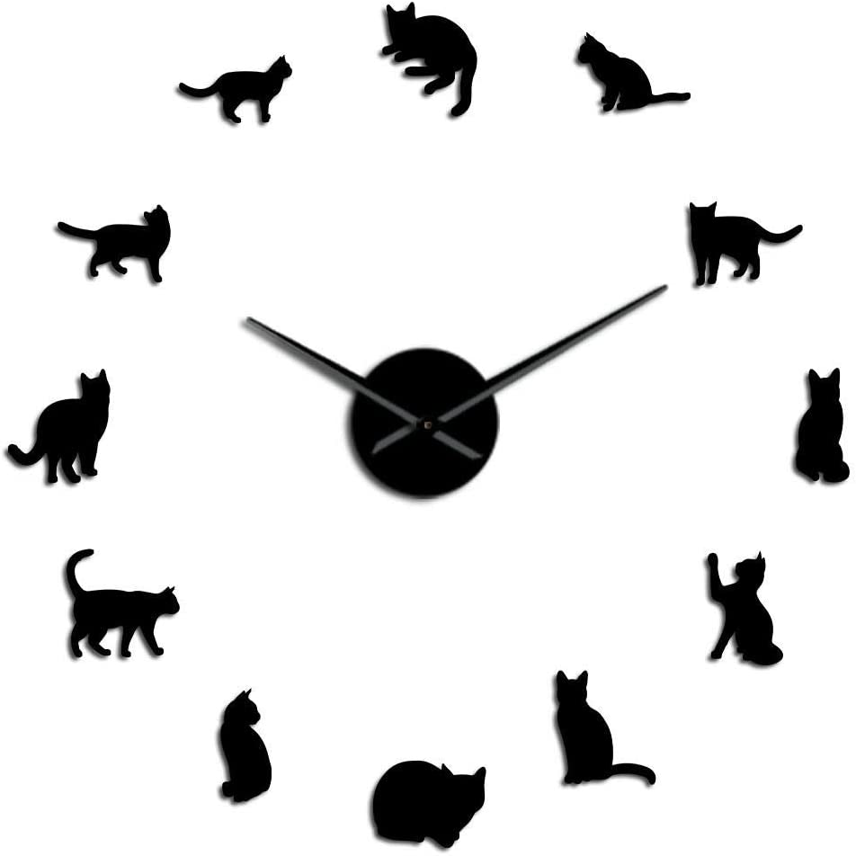 Silueta Gatos Gatitos de Arte de Pared Reloj de Pared Gigante de Bricolaje, Gatos juguetones Big Needle Kitty Girl Room Reloj de Pared Grande Regalo de Abanico felino: Amazon.es: Hogar