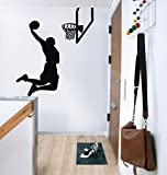 87x 100cm, Jumping Basket NBA Kobe Player étoiles Jordan Slam Dunk graffti Art Autocollant mural pour chambre d'enfant pour garçon, noir, 87 x 100 cm