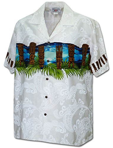 Pacific Legend Hawaiian Tiki Men's Aloha Shirt (XX-Large, White) (Tiki Aloha Shirt)