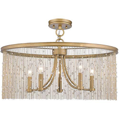 (Golden Lighting 1771-5SF-PG-CRY Marilyn 5 Light 25 inch Peruvian Gold Semi-Flushmount Ceiling Light)