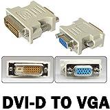 Generic DVI-D 24 + 1 - Adaptador de macho de 25 pines a VGA de 15 pines hembra