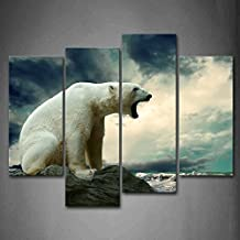 First Wall Art - Polar Bear Stand On Rock Near Beach Wall Art Painting The Picture Print On Canvas Animal Pictures For Home Decor Decoration Gift