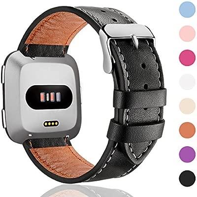 HUMENN Correa para Fitbit Versa/Fitbit Versa Lite, Pulsera de Cuero Ajustable Correas de Recambio Deporte Accesorios para Fitbit Versa Smartwatch ...