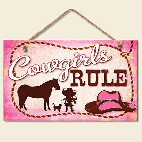 New Little Cowgirls Rule Sign Pink Plaque Western Cowboy Hat Horse Rope Decor (Western Decor Sign)