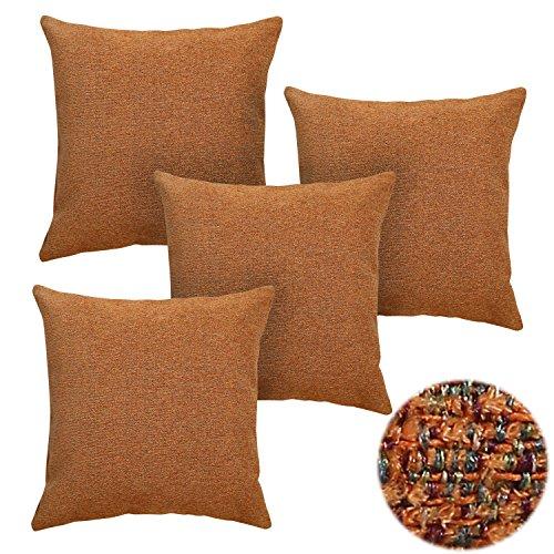 Deconovo Set of 4 Square Pillows Chenille Throw Pillow Throw