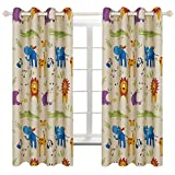 BGment Kids Blackout Curtains - Grommet Thermal Insulated Room Darkening Printed Animal Zoo Patterns Nursery and Kids Bedroom Curtains, Set of 2 Curtain Panels (52 x 63 Inch, Beige Zoo)
