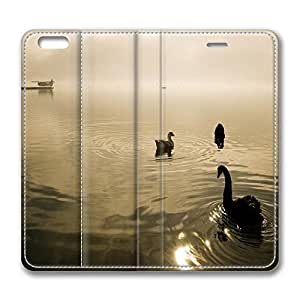 iPhone 6 Leather Case, Personalized Protective Flip Case Cover Two Swans And A Goose for New iPhone 6