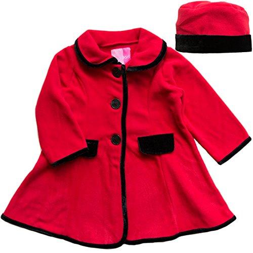 Good Lad Toddler Girls fleece coat with velvet trim around jacket and velvet tab fake pocket. Matching hat (2T, Red) (Trim Coat Velvet)