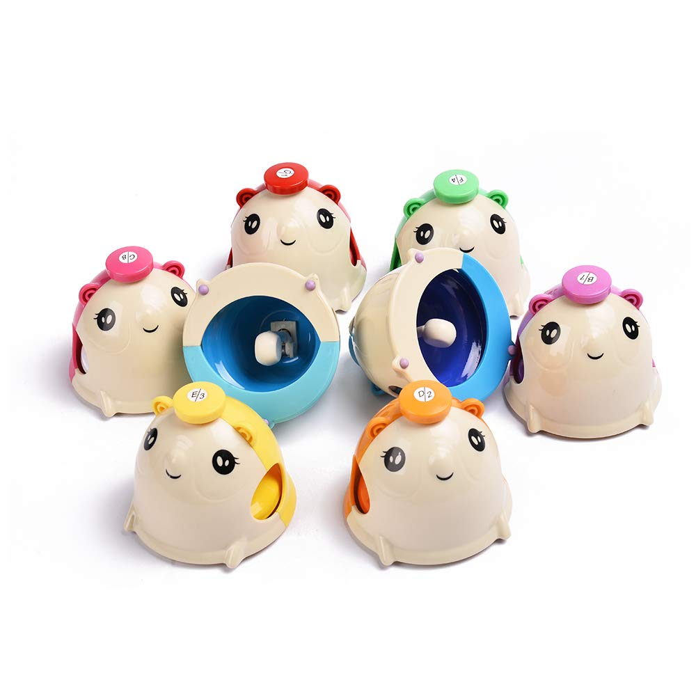 8 Note Mouse Bells ABS Plastic Hand Desk Bell Colorful Hand Bells Set for Kids Toddlers Children Percussion Toys Set of 8 by WELINK