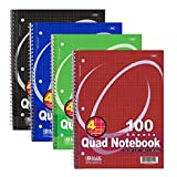 quad spiral - (2 Pack) - BAZIC Quad-Ruled Spiral Notebook 100 Count, Assorted colors (10 1/2 inches x 8 inches)