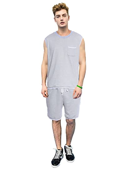 6df2ddf9e83f3a JeVenis Men s Luxury Comfort Sleepwear Sleeveless Pajamas Tracksuit Set  Shorts and Top Set (S