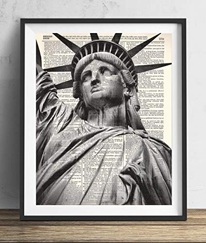 - Statue Of Liberty New York City Vintage Upcycled Dictionary Art Print 8x10