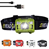 three trees Sensor Brightest LED -with Red Light Rechargeable Headlamp Flashlight for Kids Men and Women,Waterproof Perfect for Running, Walking,Reading,Camping Adjustable in 200 Lumens (Green)