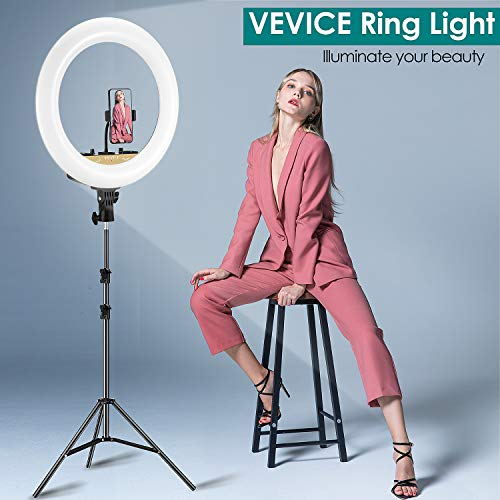 VEVICE Ring Light Kit 18 inch 6000K Dimmable LED Ring Light with Light Stand Carrying Bag Cold Shoe Adapter for Camera Smartphone iPad YouTube TikTok Self-Portrait Shooting Black