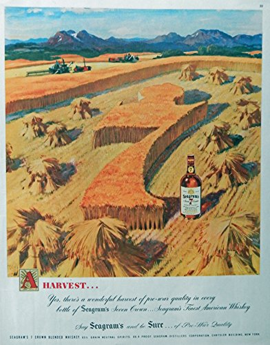 Seagram's Seven Crown Whiskey, 40's Print Ad. Full Page Color Illustration (Harvest...grain field, big 7) Original Vintage, 1947 Rare, Collier's Magazine Art
