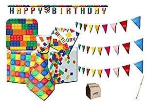 Amscan IRPOT-Kit N 17, para EL CUMPLEAÑOS, Fiesta Lego Block ...