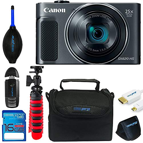 Basic Accessory Package - Canon Powershot SX620 (Black) + 12