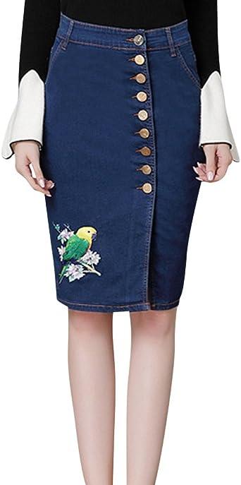 Kasen Falda Vaquera Mujer Minifalda De Mezclilla Slim Fit con ...