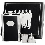 Visol VSET62-1156 Tux Leather Groomsmen II Flask Gift Set, 8-Ounce, Black