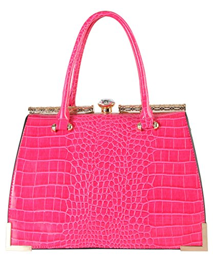 diophy-womens-faux-leather-animal-print-kiss-lock-structured-top-handles-tote-handbags-cc-3355-fuchs
