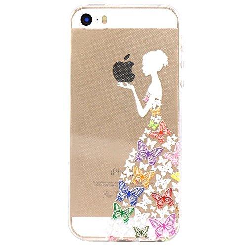 iPhone 4 4S Cover , YIGA Bianco Ragazza Farfalla Trasparente Silicone Cristallo Morbido TPU Case Custodia per Apple iPhone 4 4S