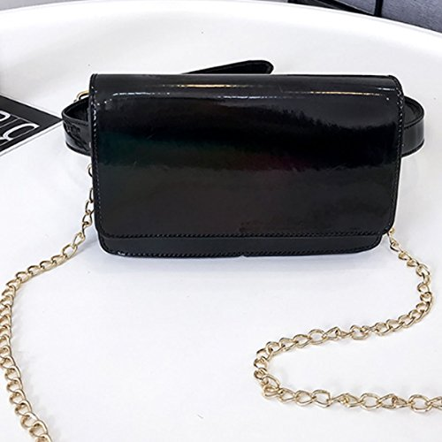 Silver Laser Satchel AiSi PU Shoulder Mini Handbag Casual Bags Leather Bag Women Waist Crossbody Chain Black w1wq6nHfCg