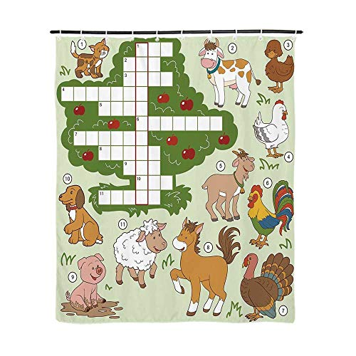 - Word Search Puzzle Fashionable Shower Curtain,Cartoon Style Farm Animals Cute Happy Country Life Theme Squares Numbers Decorative for Bathroom,72''L x 59''W
