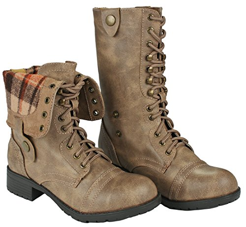 Women Holly-7 Taupe Military Combat Foldable Cuff Faux Leather Plaid/Quilted Back Zipper Lace Up Boots-8.5 by JJF Shoes (Image #1)