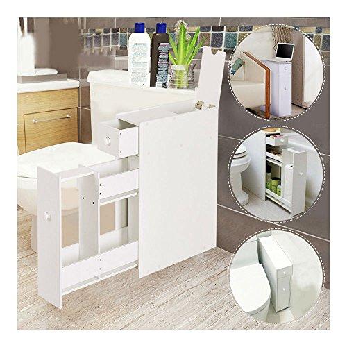 - Narrow Wood Floor Bathroom Storage Cabinet Holder Organizer Bath Toilet
