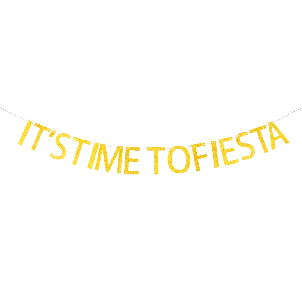 Minhero It's Time To Fiesta gold glitter banner Party Banner for Birthday Wedding Showers Photo Props Window Décor