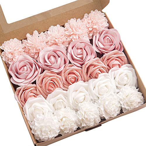 Ling's moment Artificial Flowers Combo for DIY Wedding Bouquets Centerpieces Arrangements Party Baby Shower Home Decorations ()