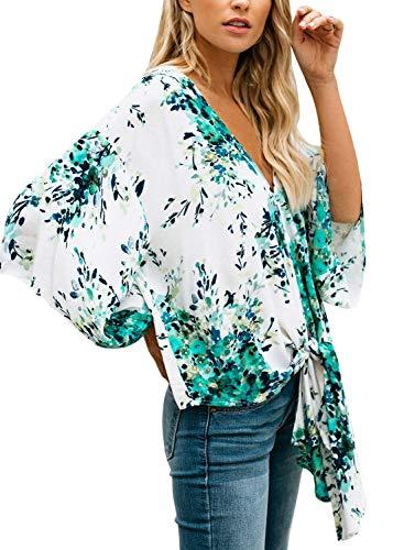 Chemisiers Tops Nou Haut Cou Mode Shirts Chemise 6 Motif Loisir Chic Fleur 4 Vintage 3 V Bouffant Et Femme Printemps Elgante Manches BwRqIrB