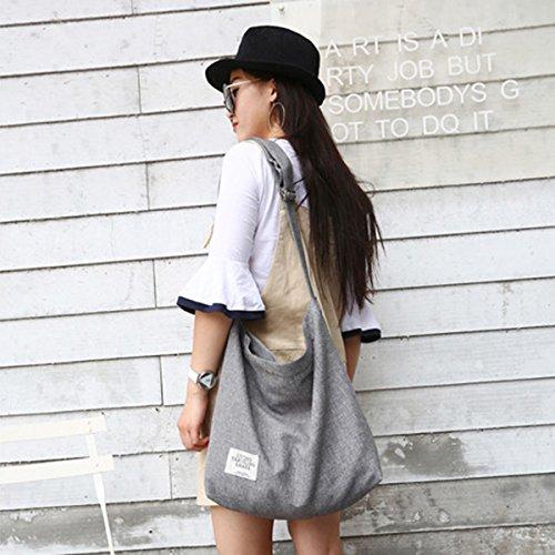 Fanspack Women's Canvas Hobo Handbags Simple Casual Top Handle Tote Bag Crossbody Shoulder Bag Shopping Work Bag by Fanspack (Image #6)