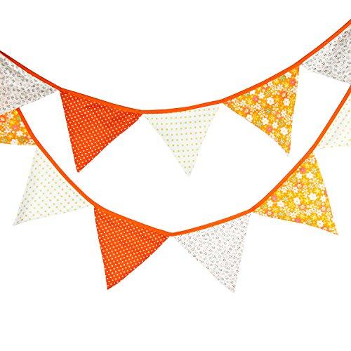 Orange Vintage Fabric Flag Buntings Garlands Wedding Birthday Party Decoration