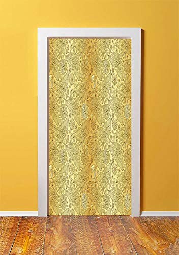 Gold Mandala 3D Door Sticker Wall Decals Mural Wallpaper,Flourish Pattern with Paisley Botanical Garden Theme Curvy Persian Fashion Decorative,DIY Art Home Decor Poster Decoration 30.3x78.5832,Yellow (Bookshelf Curvy)